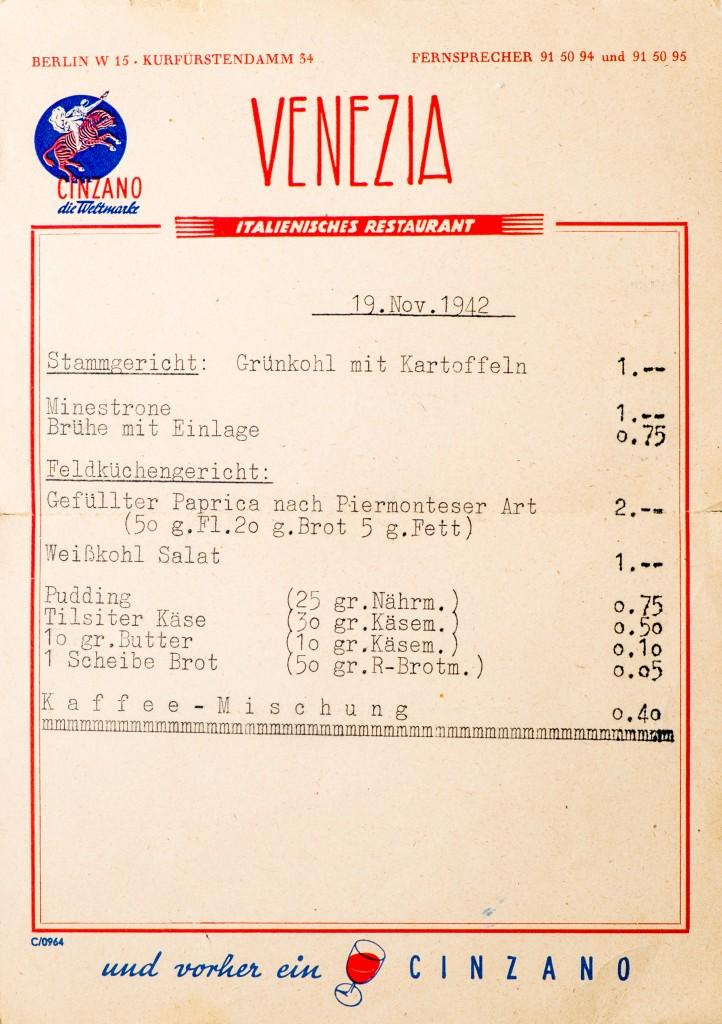 Speisekarte von 1942