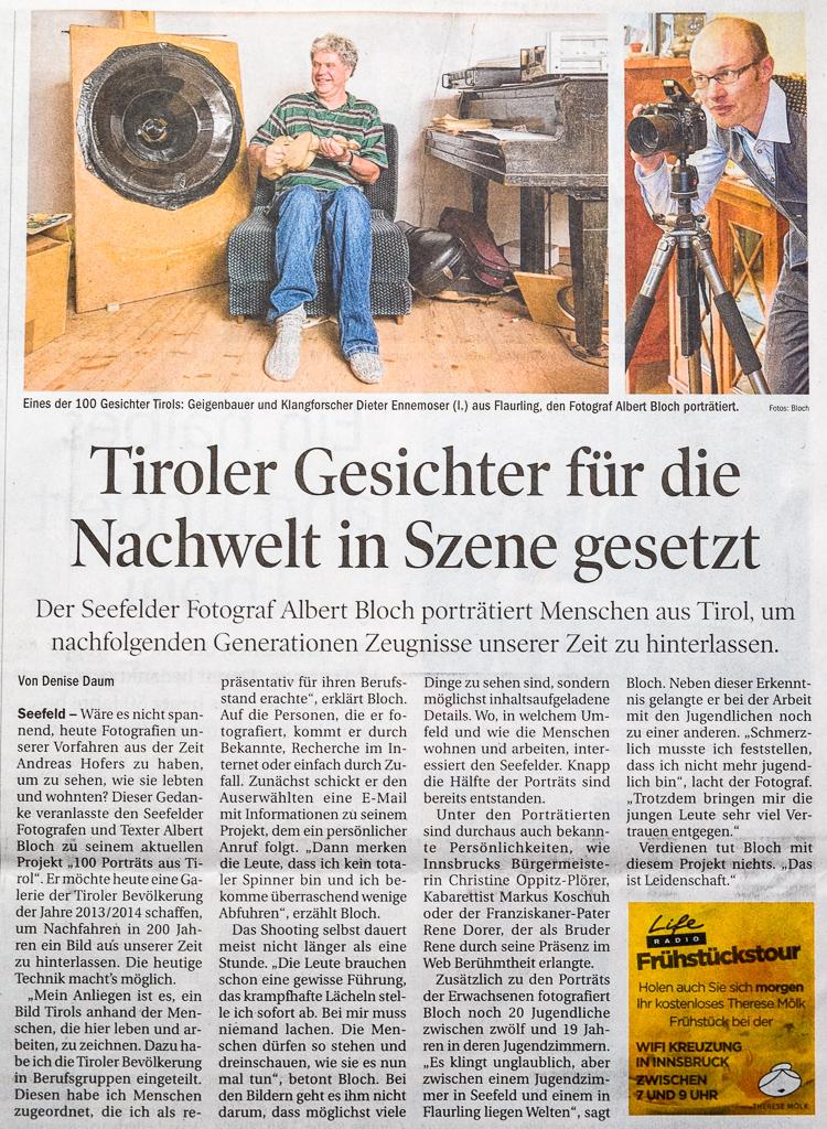 """Artikel über """"100 Porträts aus Tirol"""" in der Tiroler Tageszeitung"""